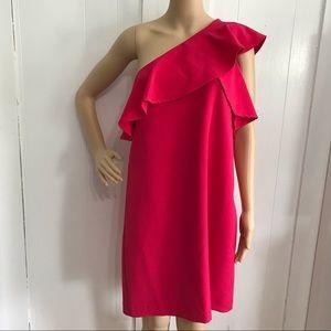 Charles Henry Pink One Shoulder Dress